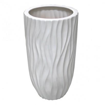 CERAMIC FLOOR VASE WHITE 19x40CM - 1