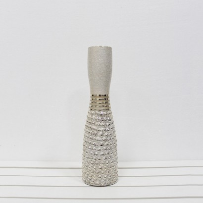 CERAMIC VASE WHITE/GOLD 11x11x40CM - 1