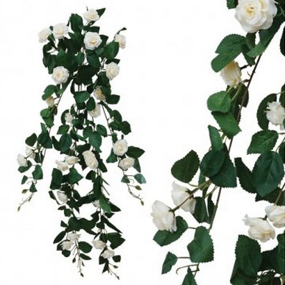 ARTIFICIAL HANGING ROSE CREAM 90CM