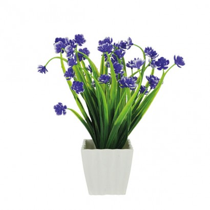 GREENERY IN FLOWER POT WITH PURPLE FLOWER 23CM