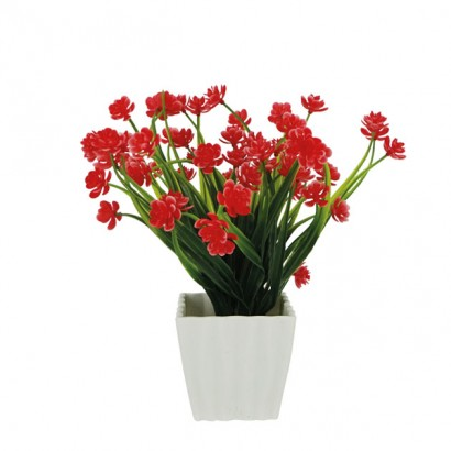 GREENERY IN FLOWER POT WITH FUCHSIA FLOWER 23CM - 1