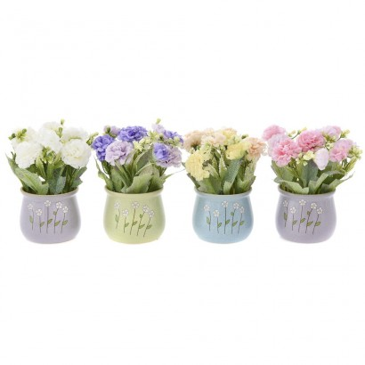 GREENERY IN FLOWER POT WITH FLOWER (4 COLOURS) 18CM - 1