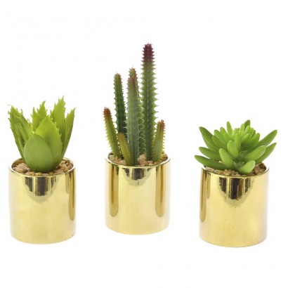 CACTUS IN FLOWER POT (3 DESIGNS) 17CM