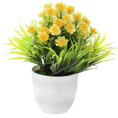 GREENERY IN FLOWER POT WITH FLOWER YELLOW 20CM - 1