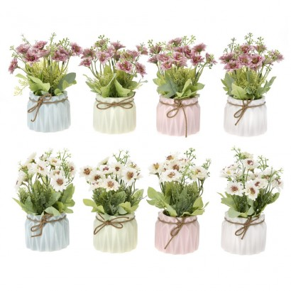 GREENERY IN FLOWER POT WITH FLOWER (2 COLOURS) 18CM