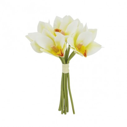 ARTIFICIAL ORCHID BOUQUET CHAMPAGNE REAL TOUCH 25CM