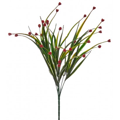 ARTIFICIAL GREENERY BOUQUET WITH FLOWER RED 35CM - 1