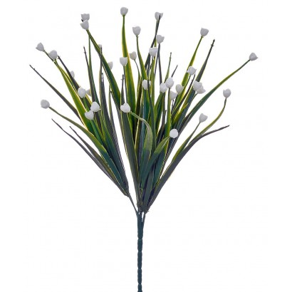 ARTIFICIAL GREENERY BOUQUET WITH FLOWER WHITE 35CM - 1