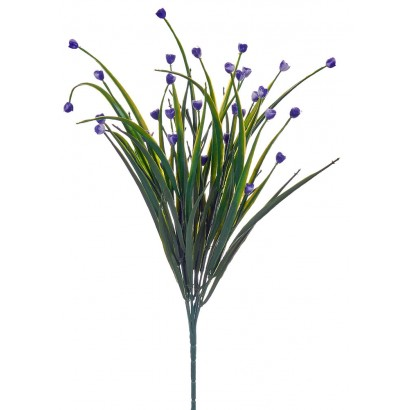 ARTIFICIAL GREENERY BOUQUET WITH FLOWER BLUE 35CM - 1