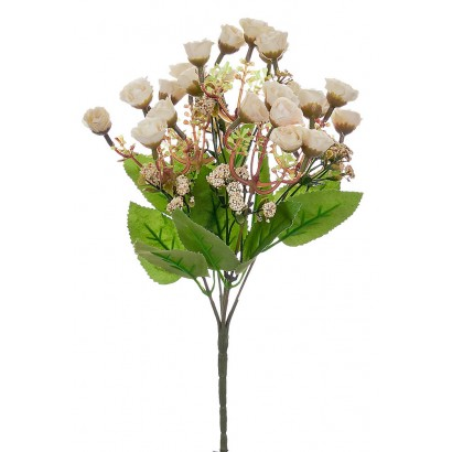 ARTIFICIAL ROSE BOUQUET CREAM 30CM - 1