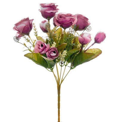 ARTIFICIAL ROSE BOUQUET FUCHSIA 35CM - 1