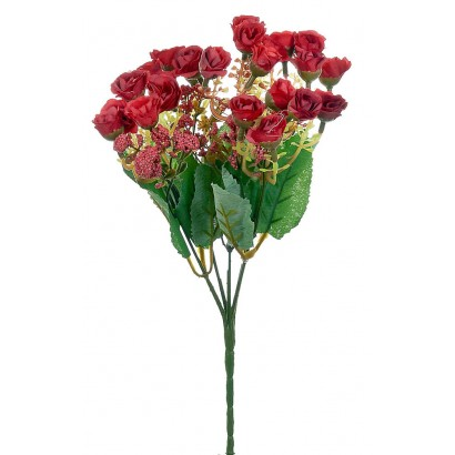 ARTIFICIAL ROSE BOUQUET RED 30CM - 1