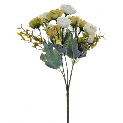ARTIFICIAL ROSE BOUQUET GREEN-WHITE 32CM - 1