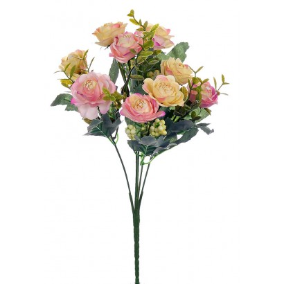 ARTIFICIAL ROSE BOUQUET LIGHT PINK 32CM - 1